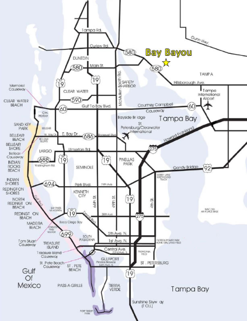 map of all the local beaches in tampa bay